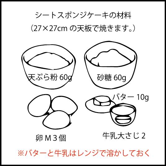 スポンジケーキの材料。 正方形のシートスポンジを焼きます。