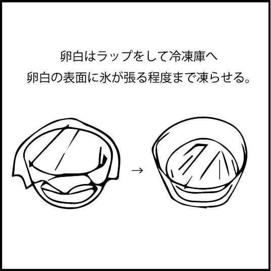 卵白はラップをして冷凍庫へ 表面に氷が張るまで凍らせる。