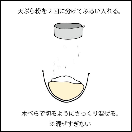 天ぷら粉を二回に分けてふるい入れる。