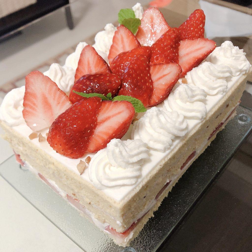 天ぷら粉でショートケーキ